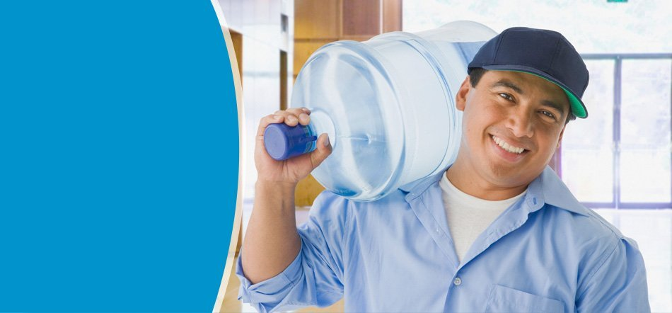 Man carrying big bottle of water