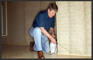 Man spraying insecticide on crevice