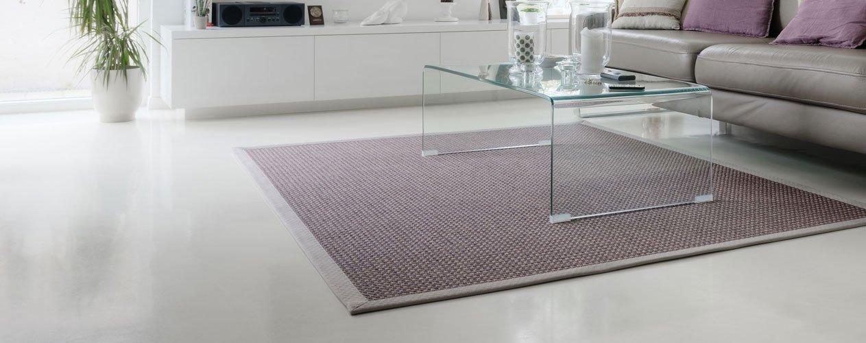 White living room with epoxy floor coating