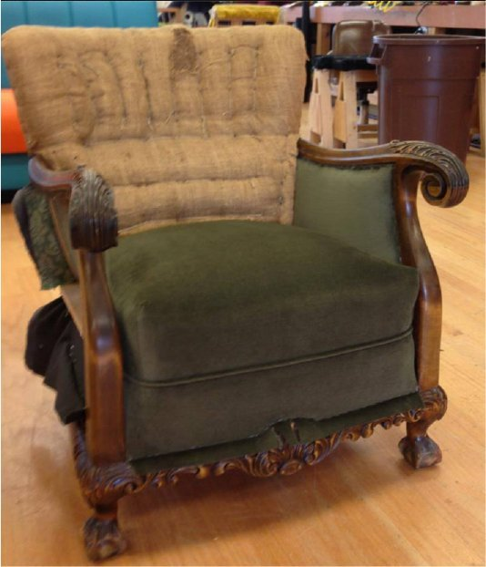 During upholstery process