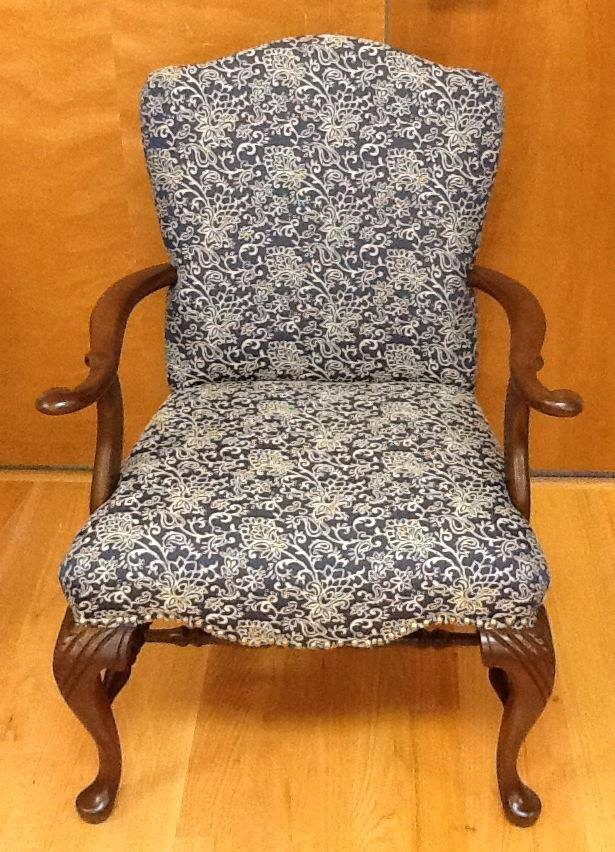 Antique blue and white floral chair
