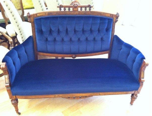 Antique blue couch