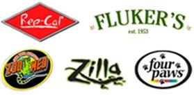 Rep-Cal, Fluker's, Zoo Med, Zilla, four paws logos