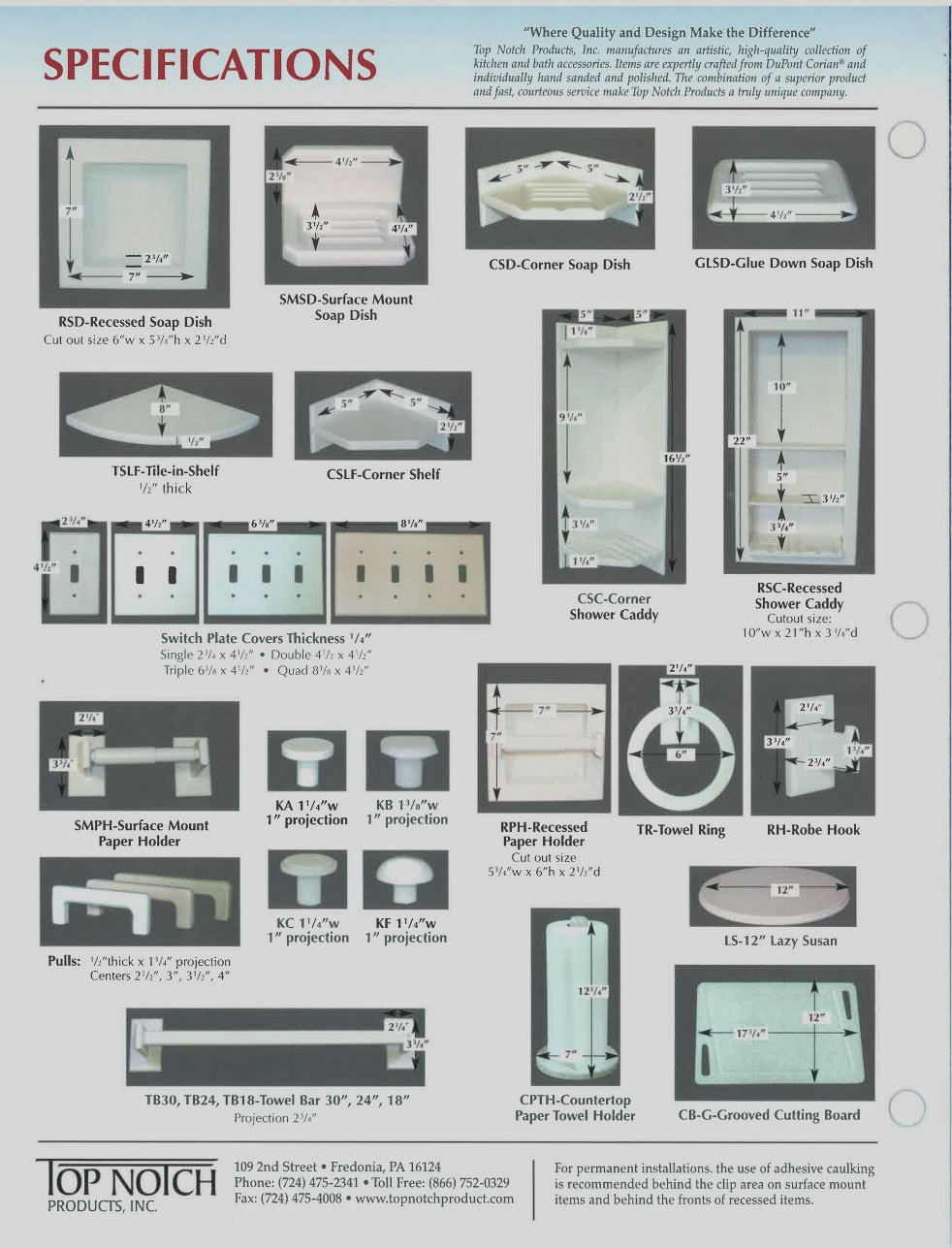 Accessories Specifications   Top Notch Products Inc
