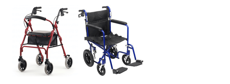 Wheelchair and walker side by side