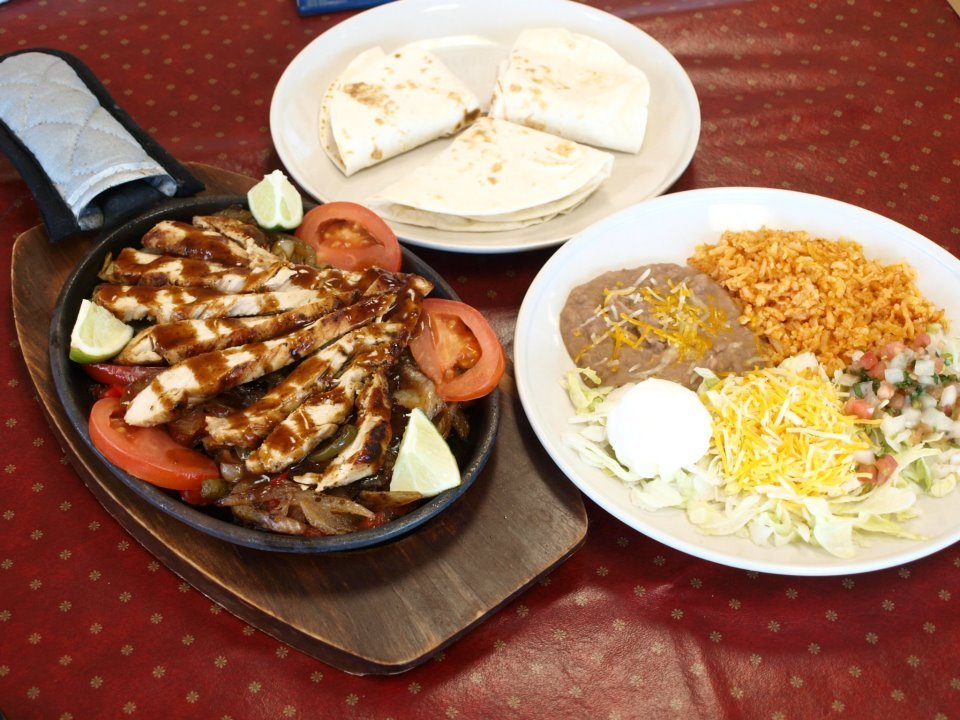 Fajitas and other Mexican food