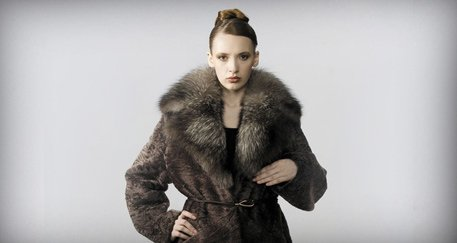 Woman wearing fur clothes