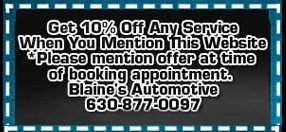 Blaine's Automotive Coupon - Plainfield IL