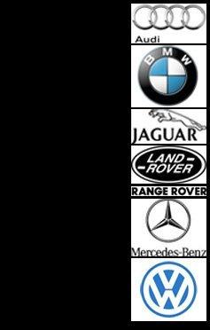 Audi, BMW, Jaguar, Land Rover, Range Rover, Mercedes-Benz, Volkswagen