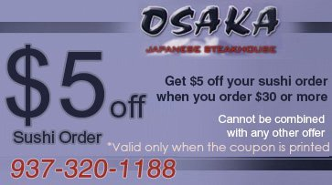 Osaka Japanese Steakhouse Coupon - Beavercreek OH