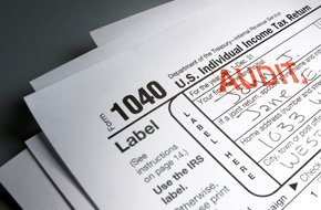 Filled up form 1040 with an audit stamp