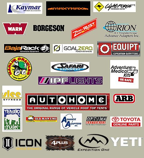 Kaymar | Maxtraxx | Lightforce | Warn | Borgeson | ZeroRust | Orion | Bajarack | GoalZero | Equipt |   Marlin Crawler | Safari | IPF Lights | Adventure Medical Kits | Slee | Tembo Tusk | Autohome | ARB | Old   Man Emu | Advance Adapters | Optima | Toyota