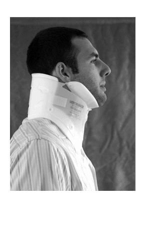 Injured person with cervical collar