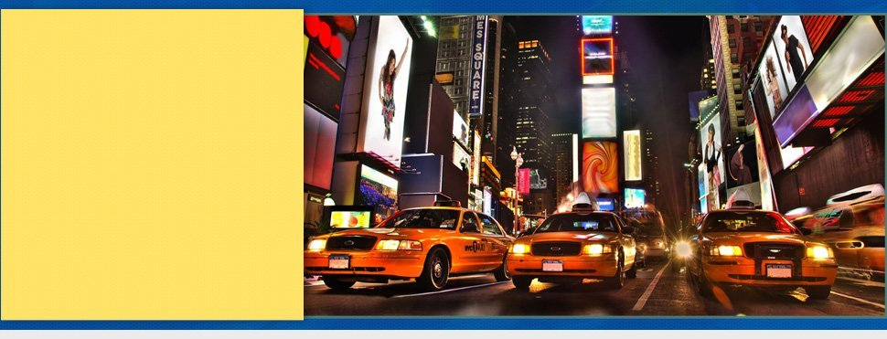 Taxi in New York Times Square at night