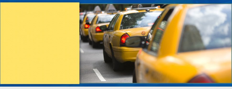 New York City cabs in a traffic