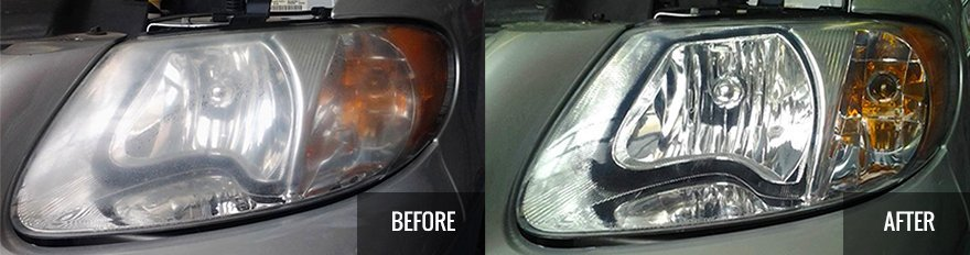 Headlight before and after