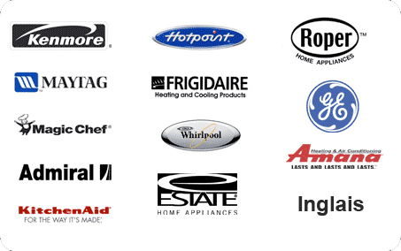 Kenmore, Hotpoint, Roper, Maytag, Frigidaire, GE, Magic Chef, Whirlpool, Amana, Samsung, Kitchen Aid, Estate, Inglais, Admiral, Montgomery Ward and Westinghouse