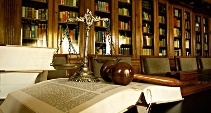 Gavel, scale and law books