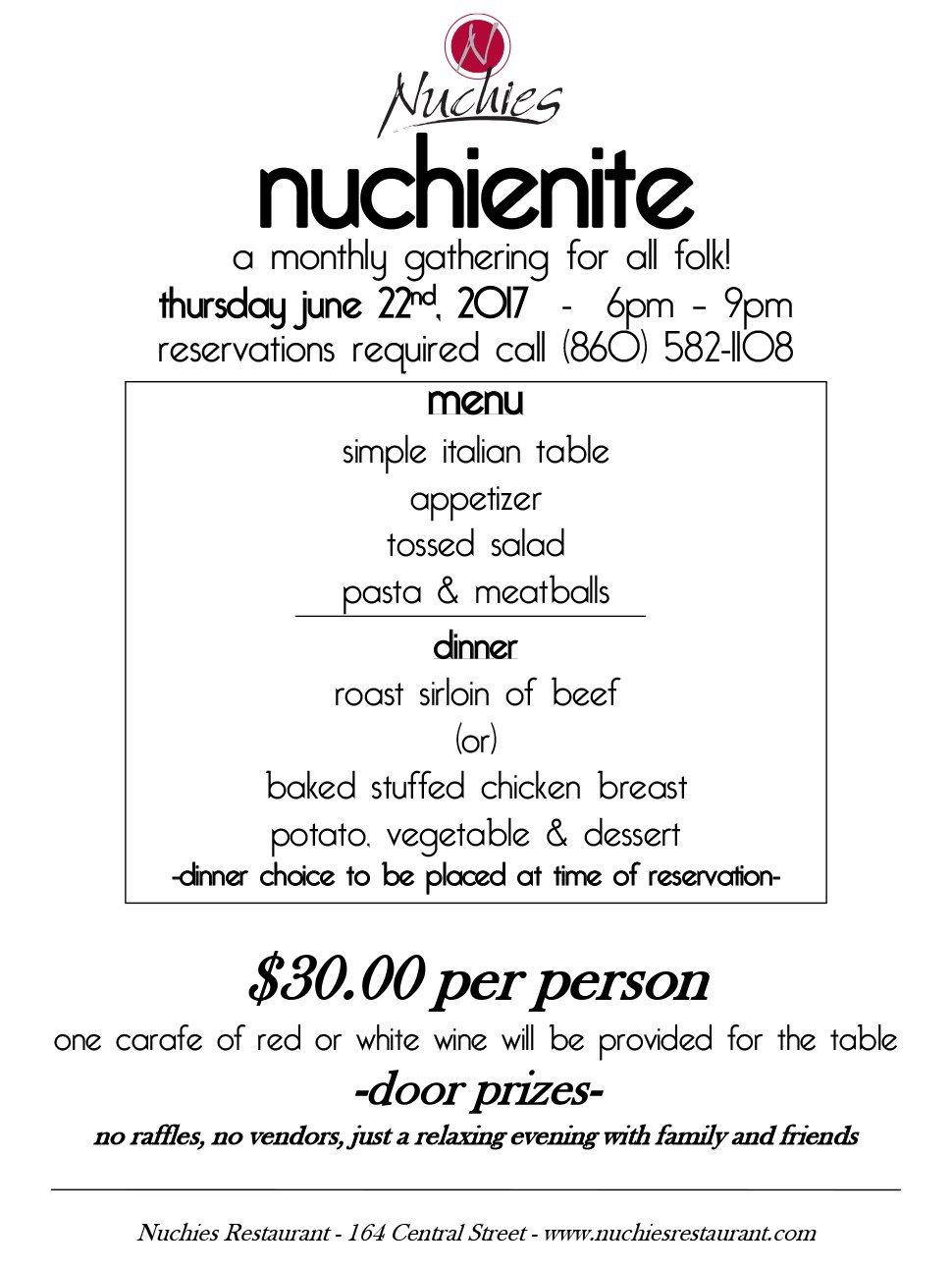 Nuchie Nite | Bristol, CT | Nuchie's Restaurant | 860-582-1108