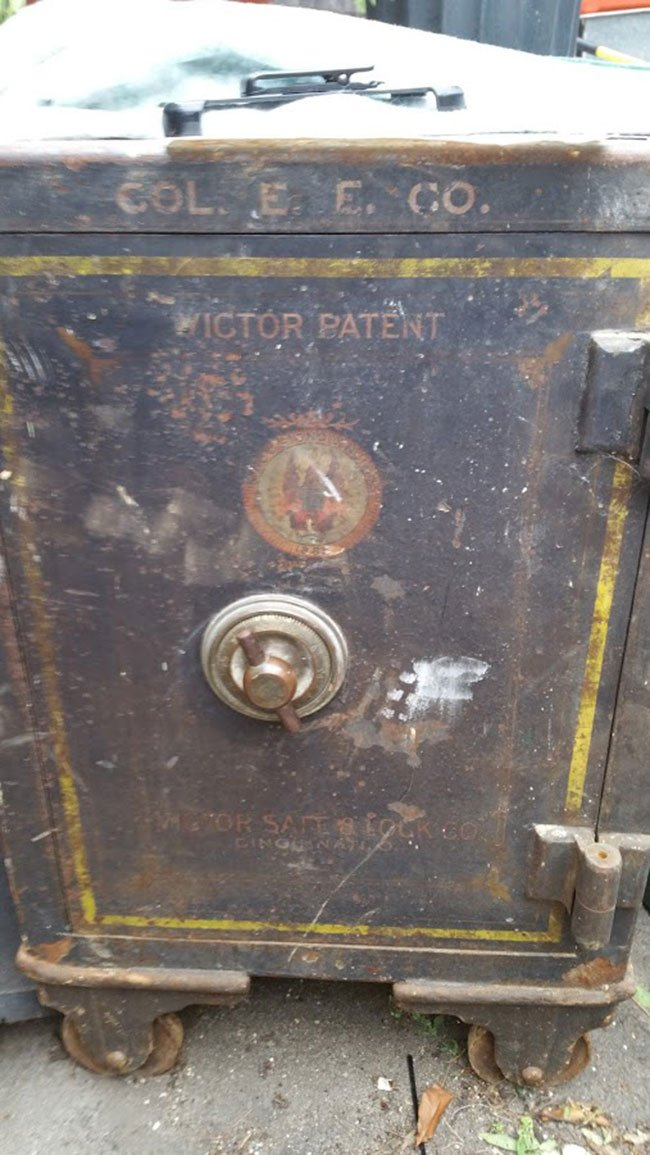 Old cast iron safe