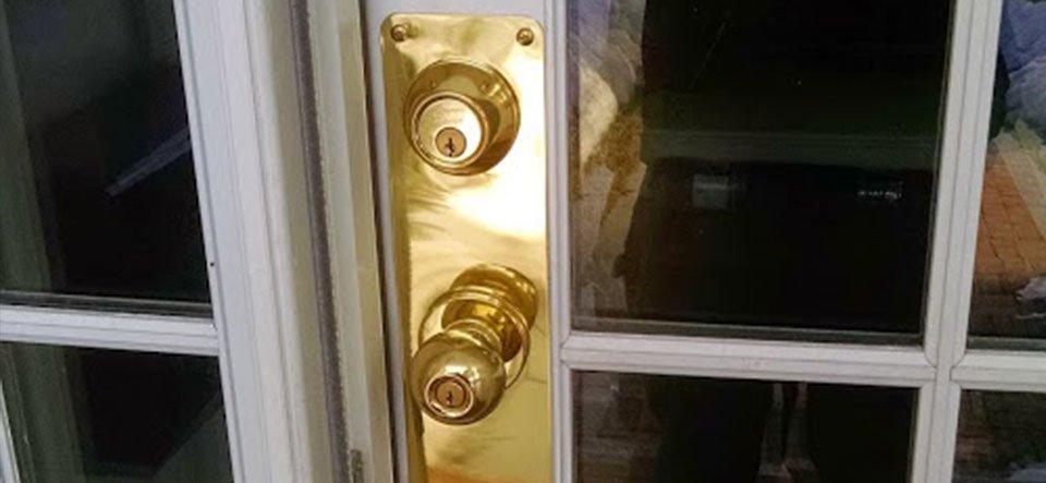 Repaired door and new hardware
