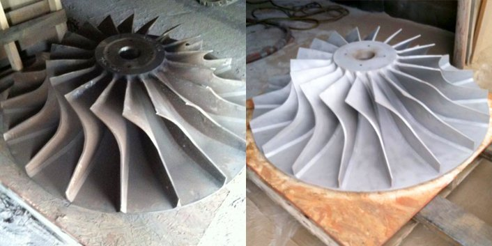 Sandblasting service before and after