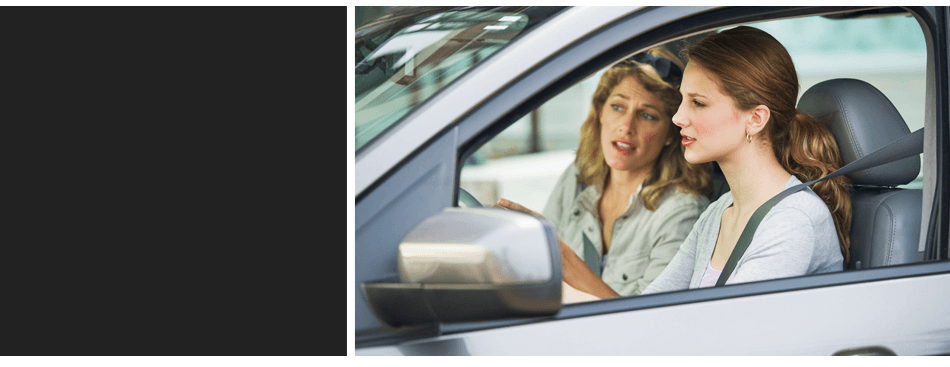 Adult in a driving lesson