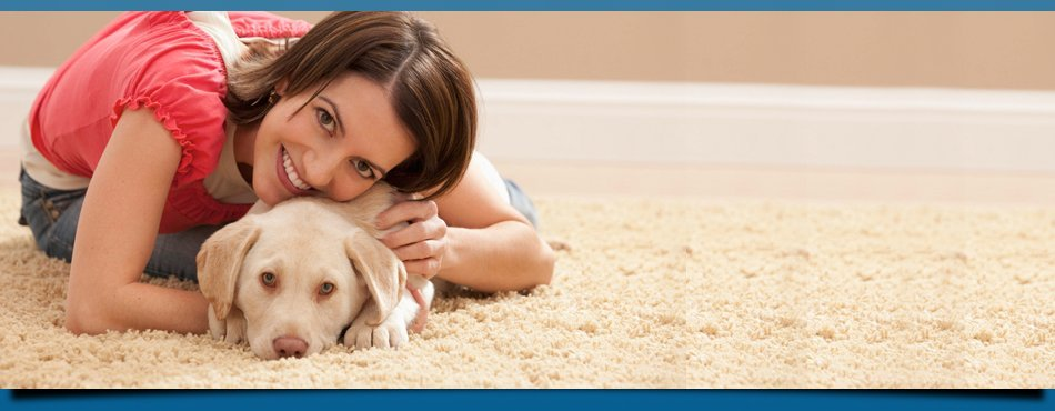 Woman and her pet on carpet