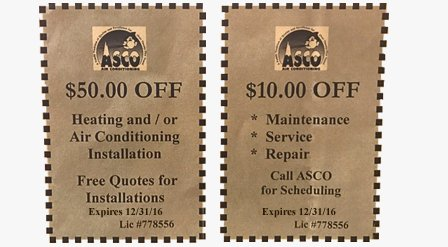Coupon | Cooling and Heating Services | Asco Service Inc