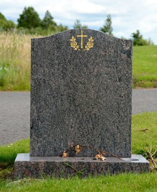 Granite type of tombstone in the cemetery