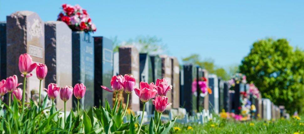 Rectangular type of tombstone in graveyard