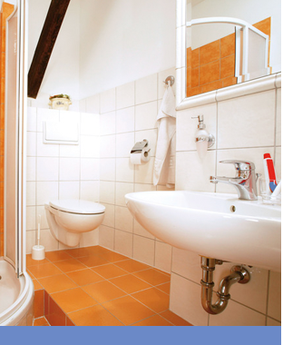 clean orange bathroom