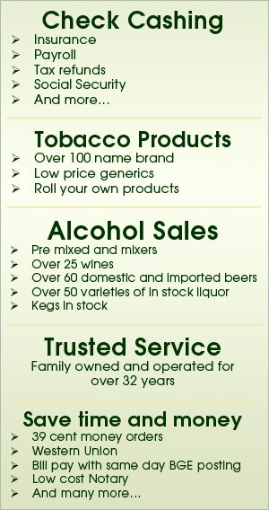 Other Products and Services - Baltimore, MD - Genie's Liquors