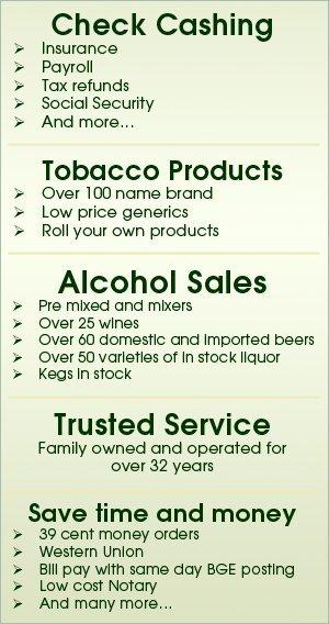 Check Cashing - Baltimore, MD - Genie's Liquors