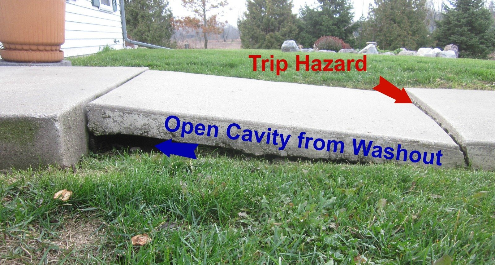 Open cavity from washout