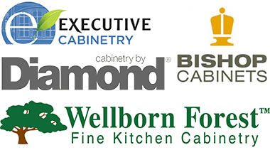 Executive Cabinetry, Diamond, Bishop Cabinets, and Wellborn Forest - logos
