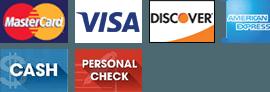MasterCard, Visa, Discover, American Express, Cash, Personal Check