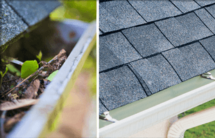 Before and after cleaning the roof gutter