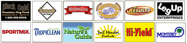 Black Gold, Diamond Pet Foods, The Missing Link, Muenster Milling Co., Sport Mix, Tropiclean, Nature's Guide, Soil mender Products, Results, Hi-Yield, Leg Up Enterprises, Monterey,