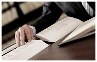 Lawyer studying books