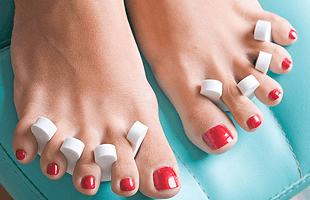Feet with red nails