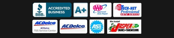 Better Business Beureau, Approved Auto Repair, Tech-Net, ACDelco TSS Service Center, ACDelco, ASE Certfied, Jasper Engines & Transmissions