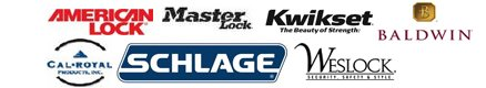 We proudly use KwikSet, Schlage, Cal-Royal, American Lock, Masterlock, Baldwin, and Weslock (Interconnected Lock) products