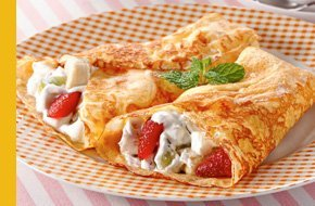 Strawberry and creme crepes