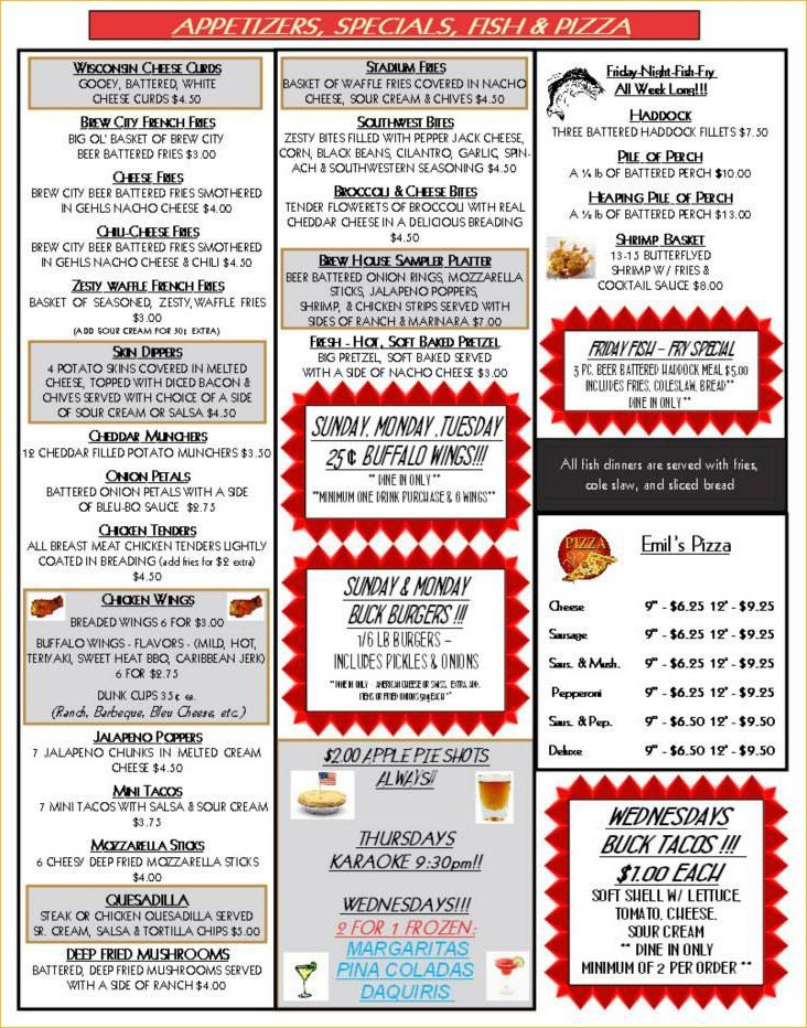 Menu for appetizers, specials, fish and pizza