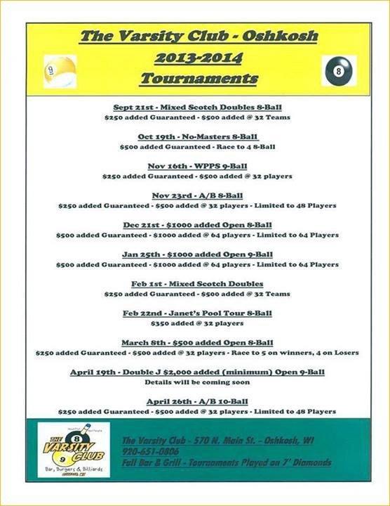 Billiards tournament schedule