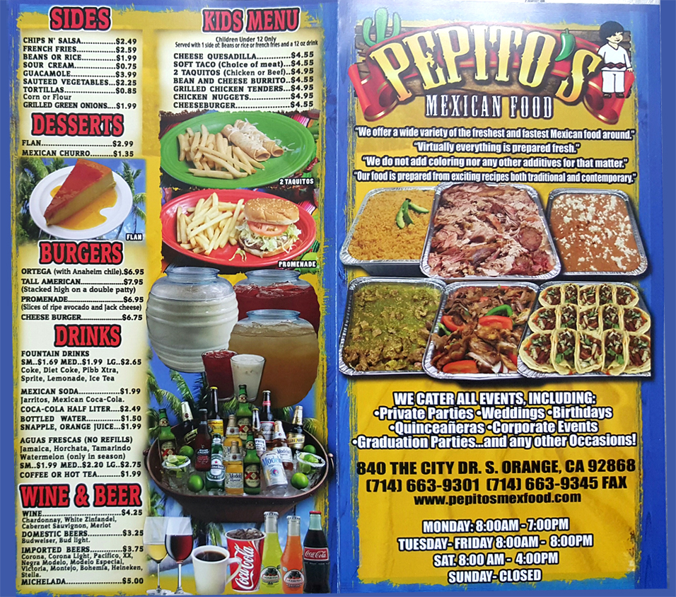 Pepitos Catering & Mexican Food Menu