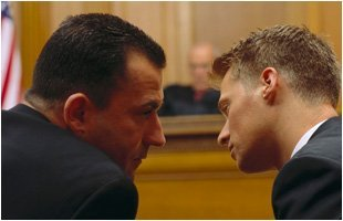 Lawyer giving advice to his client