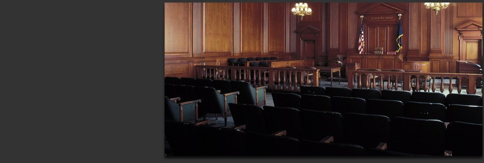 Inside of a courtroom without people