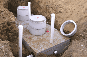 Septic tank installed underground